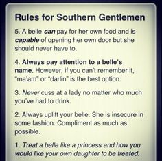 Rules for Southern Gentlemen