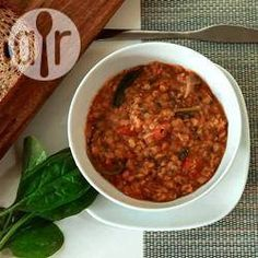 Sopa de lentejas rojas y espinaca @ allrecipes.com.ar