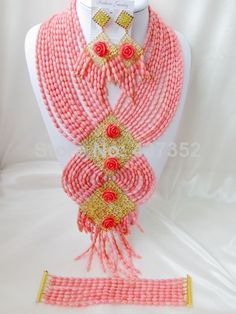 Exclusive Pink Nigerian Bead Necklaces Wedding Coral Beads Jewelry Set African Beads Jewelry Set CWS1040 $158.10