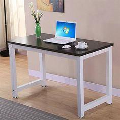 Yaheetech Simple Design Computer Table Wood Desktop Metal Frame Workstation Home Office Desk. Dimensions: 120×60×74cm (L×W×H) 47.2×23.6× 29 inch (L×W×H). Board Thickness: 1.5cm/0.6inch. Perfect for use in home, the study, office or at the corner and more. Could be used as a writing desk, workstation, computer/laptop desk etc. Sturdy metal frame coated in anti-rust and corrosion-free finish.