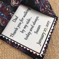 Iron On Printed WEDDING TIE PATCH - Personalized Printed Patch, Father of the Bride, Thank You For Walking By My Side, Wedding Accessories