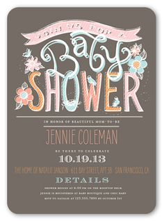 Baby Shower Invitation: Chalk Pastels Girl, Rounded Corners, Brown