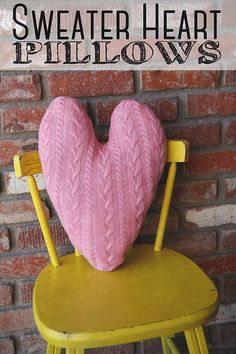 Sweater heart pillows - 20 Amazing DIY Projects that Symbolize Love. How utterly gorgeous and cozy! Valentine Day Crafts, Love Valentines, Funny Valentine, Easy Sewing Projects, Sewing Crafts, Diy Projects, Cool Diy, Pillos, Sweater Pillow