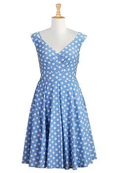 Polka dot cotton print dress