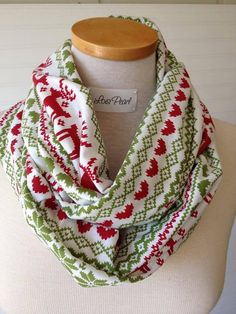 Knit Infinity Scarf in Christmas Print by loispearl on Etsy