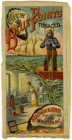 19th century tobacco label Blue Points oysters from richmondhistorycenter.com