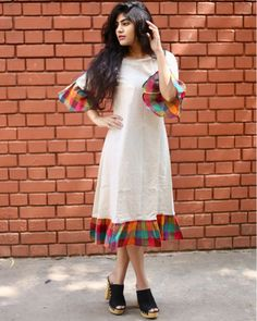 Bell Sleeve Fancy Kurti Size : M (Bust - inches) L (Bust - inches) X. Kurta Designs Women, Kurti Neck Designs, Kurti Designs Party Wear, Blouse Designs, Neckline Designs, Kalamkari Dresses, Ikkat Dresses, Frocks For Teenager, Frock Fashion