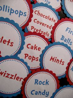 Dr Seuss birthday or baby shower candy buffet labels Dr Seuss Birthday, Kids Birthday Themes, First Birthday Parties, Dr Seuss Baby Shower, Baby Shower Candy, Candy Labels, Food Labels, Cat In The Hat Party, Twin First Birthday