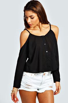 Silvie Cut Shoulder Pom Pom Button Through Blouse at boohoo.com
