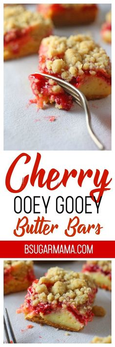 Cherry Ooey Gooey Butter bars are delicious and the perfect dessert bar. Made from cake box mix and cherry pie filling. These butter bars are super easy and delicious to make! #bars #desserts #recipe