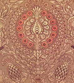 Detail of 16th century silk velvet on gold figured ground, from the Fortuny Collection.