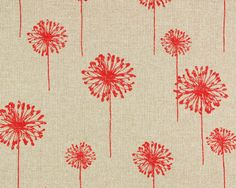 Summer Dandelion in Red and Linen by FabulouslyFabric on Etsy, $17.00