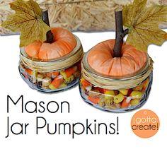Perfect #Thanksgiving hostess gift:  Mason Jar Pumpkins!  | tutorial at I Gotta Create!