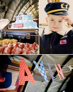 """Vintage Airplanes Vintage Airplane Inspired Birthday Party // Hostess with the Mostess® - Chrystal Guyette did such an AMAZING job bringing this VINTAGE AIRPLANE theme to life for her son Gavin's birthday – from the """"boarding pass"""" invitations Vintage Airplane Theme, Vintage Airplanes, Planes Birthday, Planes Party, Boy Birthday Parties, Birthday Ideas, 2nd Birthday, New Age, Baby Shower"""