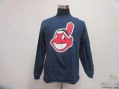 Majestic Cleveland Indians Long Sleeve Crewneck t Shirt sz L Large MLB Baseball #Majestic #ClevelandIndians #tcpkickz