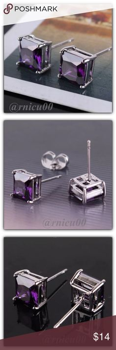 """Fave RESTOCK!🌟Amethyst Princess Stud Earrings! These Princess Cut Earrings are Definitely a Favorite! Perfect Size 7mm (0.3"""") Square Stones; Very Versatile, wear daily or Simple Classy! (sspa5-2717-0249)  🔆Part of """"Customer Favorite"""" 1X Re-Stock Sale Event! - Please see last pic for Manufacturers description - Will ship Securely in Jewelry Box👌  *ALL items Marked at Absolute LOWEST Price unless Bundled! *NO TRADES *Sales are Final-Please Read Descriptions! Boutique Jewelry Earrings"""