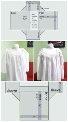 Tutorial on how to make a chemise without a pattern with fabric layout, and cutting diagram. Best Picture For historical events facts For Your Taste You are looking for something, and it is going to t 18th Century Clothing, 18th Century Fashion, Historical Costume, Historical Clothing, Vintage Sewing Patterns, Clothing Patterns, Sewing Clothes, Diy Clothes, Nightgown Pattern