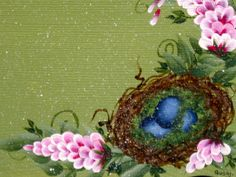 Bird's nest painted on a recipe box.  One Stroke Painting by Susan Earl.