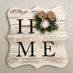Rustic farmhouse HOME Wreath Sign with interchangeable wreath. sign HOME Wreath Sign