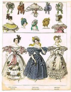 Modes de Paris - ROBE DE SATIN BROCHE - Hand Colored Eng. - 1852