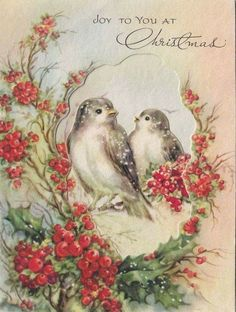 Needlepoint Design with Red Birds & a Tree. By Hallmark. Vintage Greeting Cards, Christmas Greeting Cards, Vintage Postcards, Holiday Cards, Christmas Bird, Christmas Scenes, Christmas Animals, Merry Christmas, Vintage Christmas Images