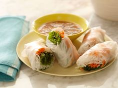 Soft Asian Summer Rolls with Sweet and Savory Dipping Sauce recipe from Ellie Krieger via Food Network