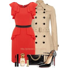"""""""Frill Dress & Neutral Trench Coat"""" by casuality on Polyvore"""