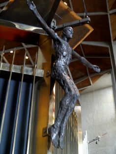 Coventry Cathedral, Crucifix by Elizabeth Frink i Coventry England, Coventry Cathedral, Religious Art, Crucifix, Stained Glass, Around The Worlds, Spaces, Life, Lds Art