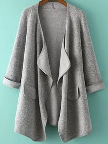 Grey Long Sleeve Loose Cardigan .  love this style with jeans ...and so cheap
