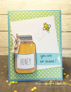 """""""Summertime Charm"""" and """"Bugs and Kisses"""" clear stamp sets by Lawn Fawn; card by Suzanne Bier Mason Jar Cards, Mason Jars, Bee Cards, Lawn Fawn Stamps, Jam Jar, Canning Jars, Card Making Inspiration, Your Cards, Homemade Cards"""