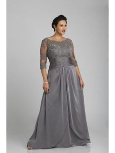 A-Line 3 4 Length Sleeves Lace Chiffon Mother of The Bride Dresses 99503015 955dae533