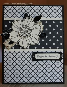 Vanilla & Black Secret Garden Anniversary Card