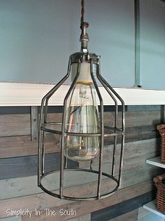 restoration hardware inspired industrial pendant light, lighting, DIY Cage light pendant