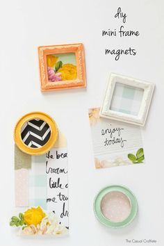 DIY Mini Frame Magnets - create these fun and functional magnets using scrapbook paper and mini frames to display on the fridge or at the office!