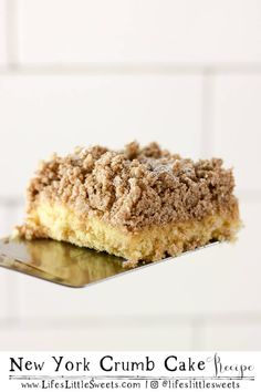 New York Crumb Cake is a classic breakfast, snack or dessert cake that goes wonderfully with coffee or tea. It makes a 1, 9 x 13 inch pan with 12 slices. #newyorkcrumbcake #dessert #snack #sweet #brunch #breakfast #vegetarian