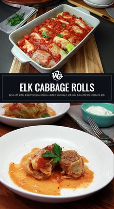 I use a blend of ground elk and a little mild Italian pork sausage for my cabbage rolls. Mixed together with fragrant Basmati rice, diced onion, minced garlic, tomato paste, 1 egg and a medley of seasonings. The sauce is so simple and light which has you focus more on the meat of the roll. Bake for 75 minutes at 350 degrees and enjoy the aromatics that fill your home while you wait. Serve with a little grated Parmesan cheese, a side of sour cream and enjoy the comforting wild game dish. Elk Recipes, Wild Game Recipes, Cooking Recipes, Cooking Basmati Rice, 9x13 Baking Dish, Thing 1, 350 Degrees, Cabbage Rolls, Tomato Paste