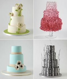 unique cakes - love the tree one! from http://bklynbrideonline.com/