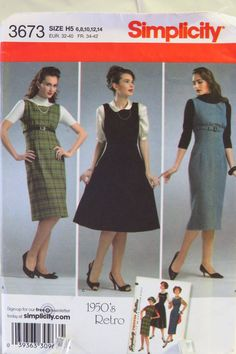 Simplicity 3673 Misses'/Miss 1950's Retro Petite Dress or Jumper with Skirt Variations in Three Lengths