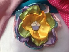 Pastel Colored Satin Floral with Cupcake by ChristyHairCreations