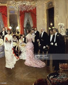 The soiree, 1878, by Jean Beraud (1849-1935). Detail. (Photo by DeAgostini/Getty Images); Paris, Musée D'Orsay (Art Gallery).