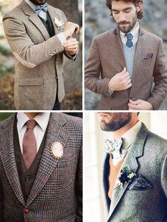 Grooms & Groomsmen in Tweed Suits   SouthBound Bride