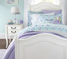 Trisha Trellis Duvet Cover | Pottery Barn Kids - purple & aqua