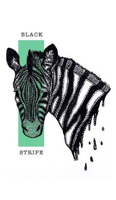 Zebra illustration created with ink.
