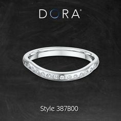 Express your love with this beautiful thin curved diamond band.  Find style 387B00 at your nearest Dora retailer #diamondband #bridalring