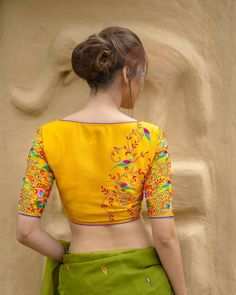 Blouse Back Neck Designs, Hand Work Blouse Design, Simple Blouse Designs, Stylish Blouse Design, Fancy Blouse Designs, Designs For Dresses, Blouse Designs Catalogue, Wedding Saree Blouse Designs, Nature Inspired