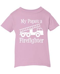 My Papa's a Firefighter What's cooler then having a firefighter papa? Here is the fun design that any grandchild can wear with pride. Makes a great unique gift. Infant, Toddler & Youth T-Shirts: Made from 100% pre-shrunk cotton Ribbed crew neck Taped shoulder-to-shoulderwith double-needle hemmed bottom and sleeves Infant & Toddler T-Shirts are made by Rabbit Skins (LAT) See sizing guide for exact garment measurements. If you purchasing as a gift and are unsure on correct size, it's a..