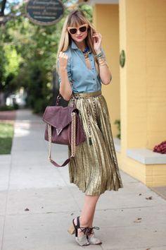 Chambray w metallic skirt