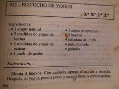 Receta de bizcocho de yogur.