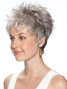 You'll look refined and elegant in a grey wig, so shop now to find Amazing Wavy Cropped Synthetic Grey Wigs in the shades and styles you've been searching for! Short Grey Hair, Short Hair Wigs, Very Short Hair, Short Hair With Layers, Short Hair Cuts For Women, Curly Wigs, Short Wavy, Black Hair, Wavy Pixie