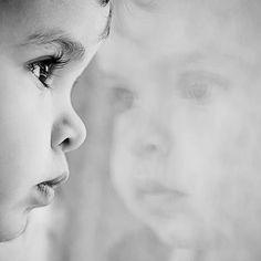 Beautiful black and white closeup Baby portrait